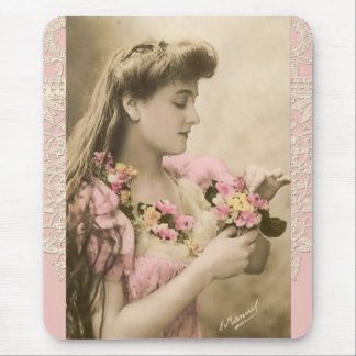 lace and posies victorian lady mouse pad