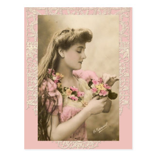 lace and posies victorian lady postcard