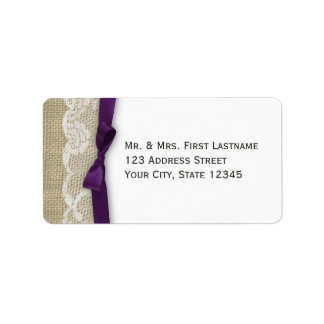 Lace and Ribbon Dark Purple Label
