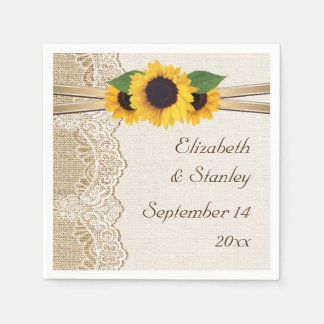 Lace and sunflowers on burlap wedding disposable napkins