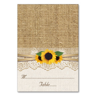 Lace and sunflowers on burlap wedding place card