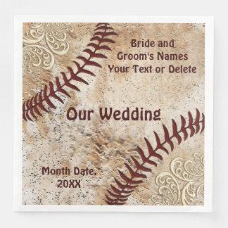 Lace and Vintage Baseball Napkins, Wedding Paper Dinner Napkin