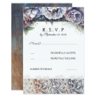 Lace and Vintage Watercolor Flowers RSVP Card