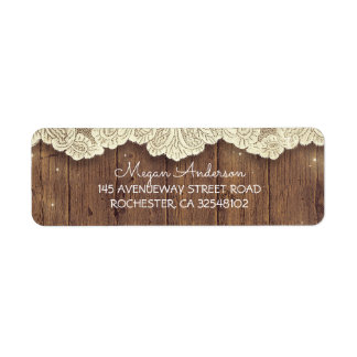 Lace and Wood Rustic Barn Wedding Return Address Label