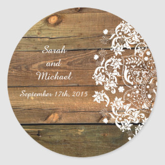 Lace and Wood Rustic Custom Envelope Sticker