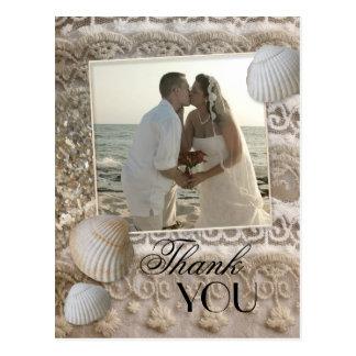 Lace Beach Wedding Photo Thank You Postcard
