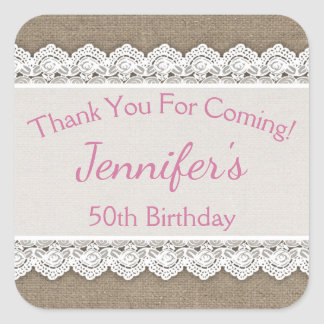 Lace Birthday Thank You Favor Tags Pink Burlap Square Sticker