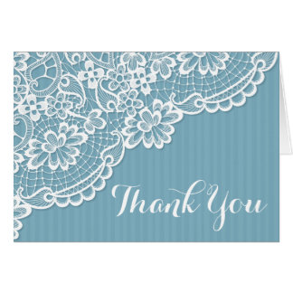 Lace Blue And White Thank You Lacy Stripes Wedding Card