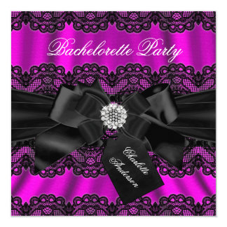 Lace & Bow Pink Black Bachelorette Party Invite