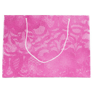 Lace Bright Pink Rose Floral Girly Glam Large Gift Bag