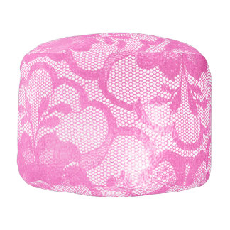 Lace Bright Pink Rose Floral Girly Glam Pouf