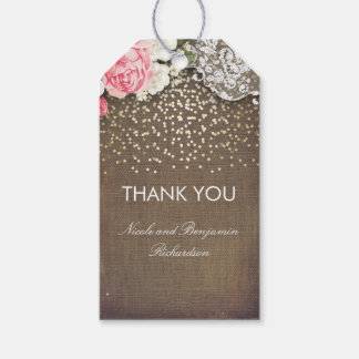 Lace Burlap and Gold Confetti Floral Rustic Gift Tags
