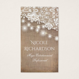 Lace Burlap and String Lights Rustic Country Business Card