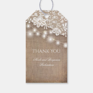 Lace Burlap and String Lights Rustic Wedding Gift Tags