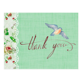 Lace Burlap Vintage Roses and Swallow Thank You Postcard