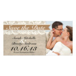 Lace & Burlap Vintage Save the Date - Caramel Brow Photo Card Template