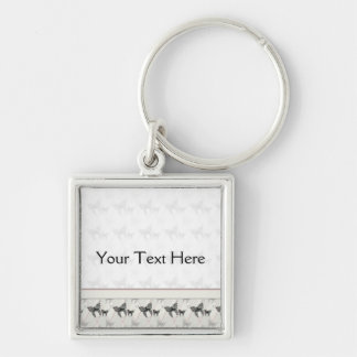Lace Butterflies And Diamonds Pattern With Border Silver-Colored Square Keychain
