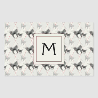 Lace Butterflies And Diamonds Pattern With Initial
