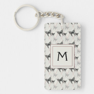 Lace Butterflies And Diamonds Pattern With Initial Double-Sided Rectangular Acrylic Keychain