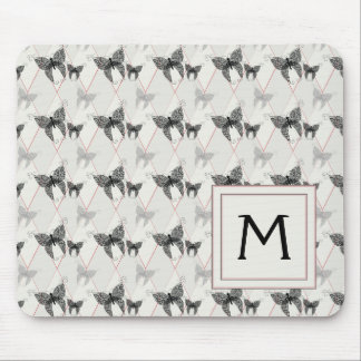 Lace Butterflies And Diamonds Pattern With Initial Mouse Pad