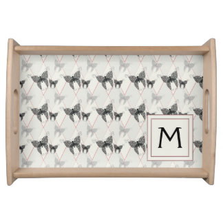 Lace Butterflies And Diamonds Pattern With Initial Serving Tray