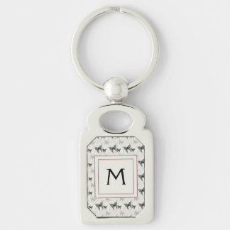 Lace Butterflies And Diamonds Pattern With Initial Silver-Colored Rectangle Keychain