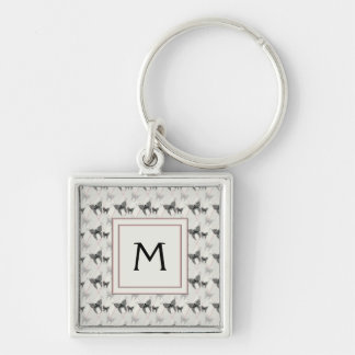 Lace Butterflies And Diamonds Pattern With Initial Silver-Colored Square Keychain