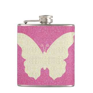 Lace Butterfly On Pink Glitter Flask