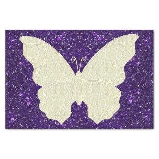 Lace Butterfly On Purple Glitter Tissue Paper
