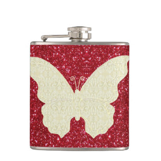 Lace Butterfly On Red Glitter Flask