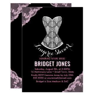 Lace Corset Lingerie Shower Bridal Party Pink Card