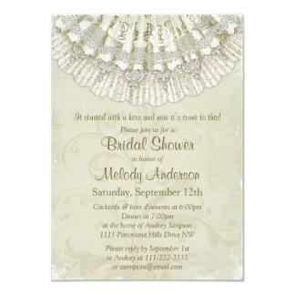 Lace Crochet Doilies Vintage Ivory Bridal Shower Card