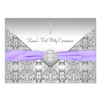 Lace Cross Girls Purple First Communion Card