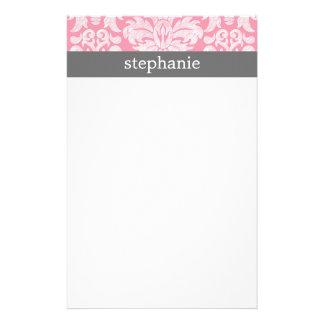 lace Damask Pattern Pink and Gray Stationery