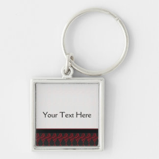 Lace Diamond Argyle Pattern With Border Silver-Colored Square Keychain