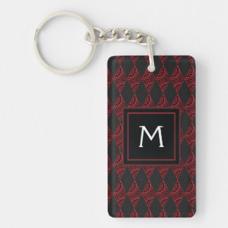 Lace Diamond Argyle Pattern With Initial Double-Sided Rectangular Acrylic Keychain