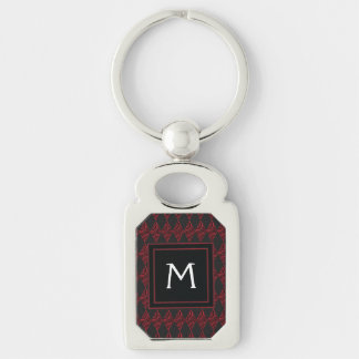 Lace Diamond Argyle Pattern With Initial Silver-Colored Rectangle Keychain