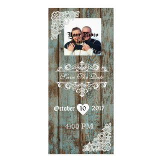 Lace Distressed Wood Save The Date Magnet