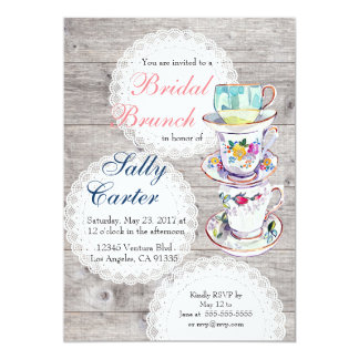 Lace Doilies & Teacups Bridal Brunch Invitation
