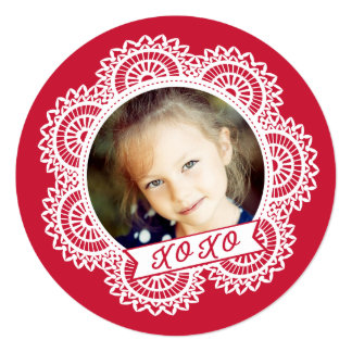 "Lace Doily Photo Valentine's Card 5.25"" Square Invitation Card"