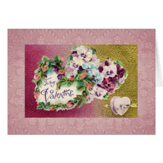 Lace Flowers and Hearts Greeting Card