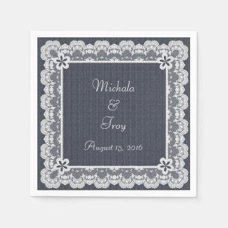 Lace Frame Blue Denim Wedding Paper Napkins