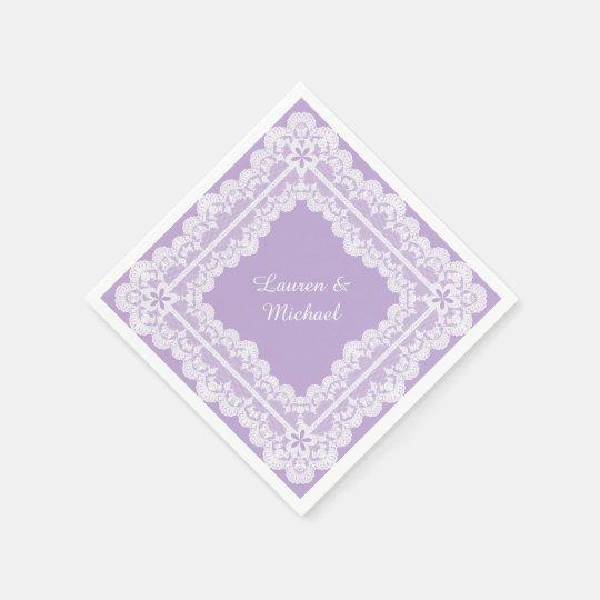 Lace Frame Lavender Orchid Wedding Paper Napkins