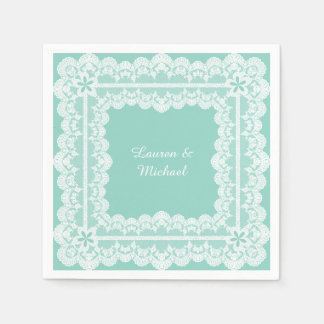 Lace Frame Mint Green Wedding Disposable Napkin