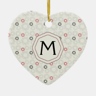 Lace Gears Pattern With Initial Ceramic Heart Ornament