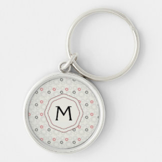 Lace Gears Pattern With Initial Silver-Colored Round Keychain