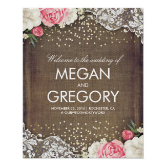 Lace Gold Burlap and Flowers Wedding Welcome Sign Poster