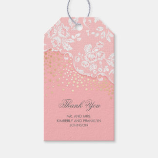 Lace Gold Confetti Glitter Pink Vintage Wedding Gift Tags
