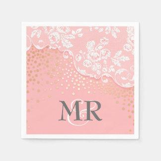 Lace Gold Confetti Pink Vintage Wedding Disposable Napkin