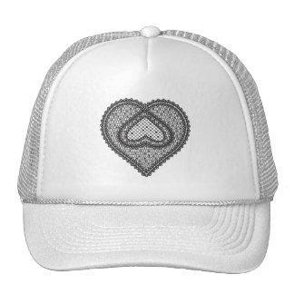 Lace heart 1 - black trucker hat